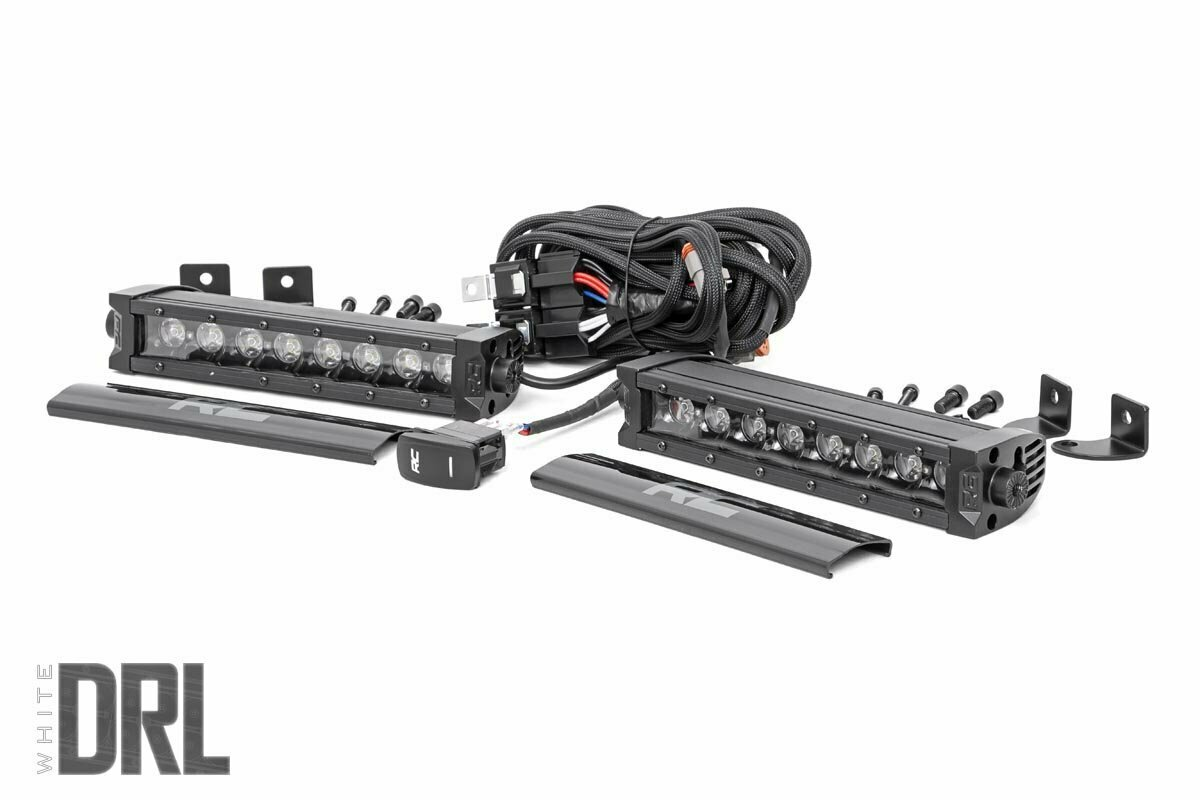 8-inch Cree LED Light Bar - (Single Row, Pair | Black Series w/ Cool White DRL)