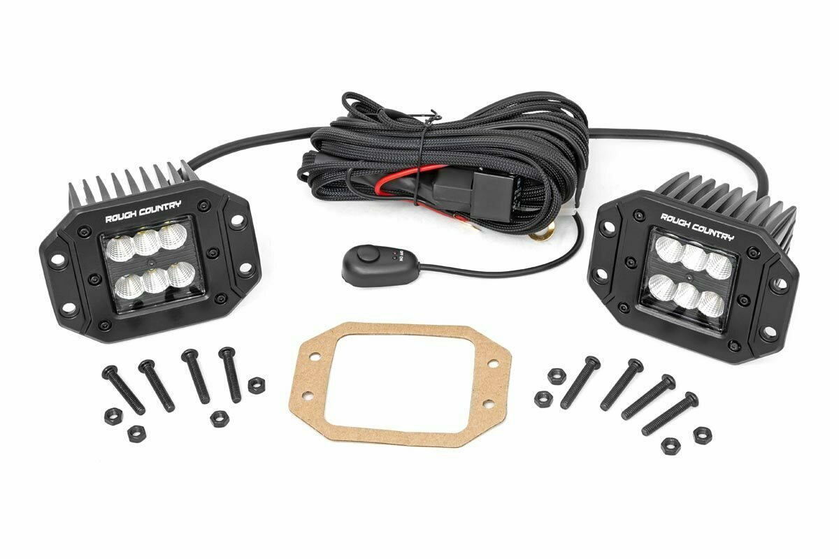 2-inch Square Flush Mount Cree LED Lights - (Pair | Black Series, Flood Beam)
