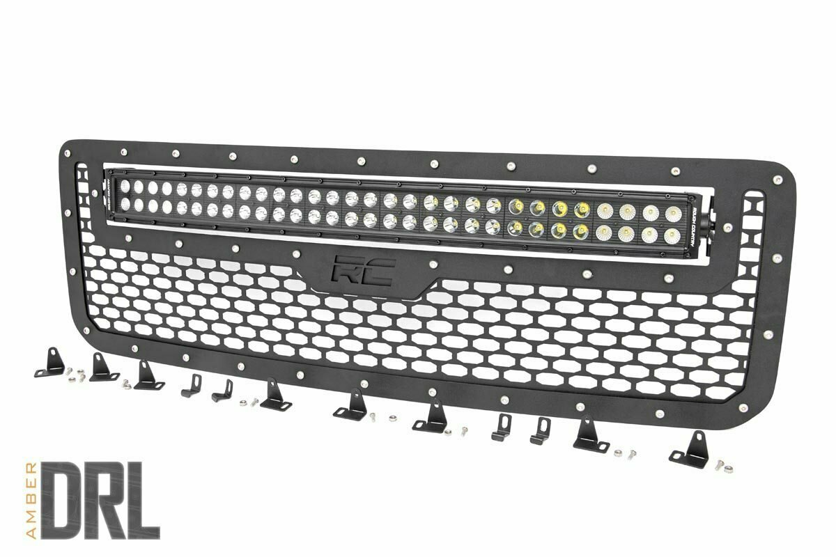 GMC Mesh Grille w/30in Dual Row Black Series LED w/ Amber DRL (15-19 Canyon)