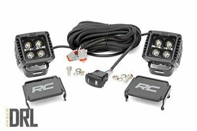 2-inch Square Cree LED Lights - (Pair | Black Series w/ Amber DRL)