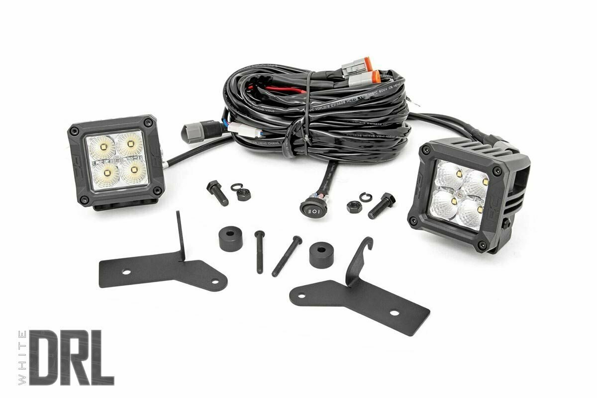 Jeep 2-inch LED Lower Windshield Kit (18-20 Wrangler JL, 2020 Gladiator JT | Chrome Series w/ Cool White DRL)