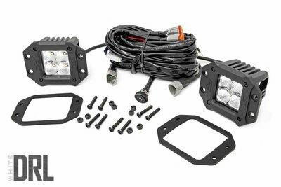 2-inch Square Flush Mount Cree LED Lights - (Pair | Chrome Series w/ Cool White DRL)