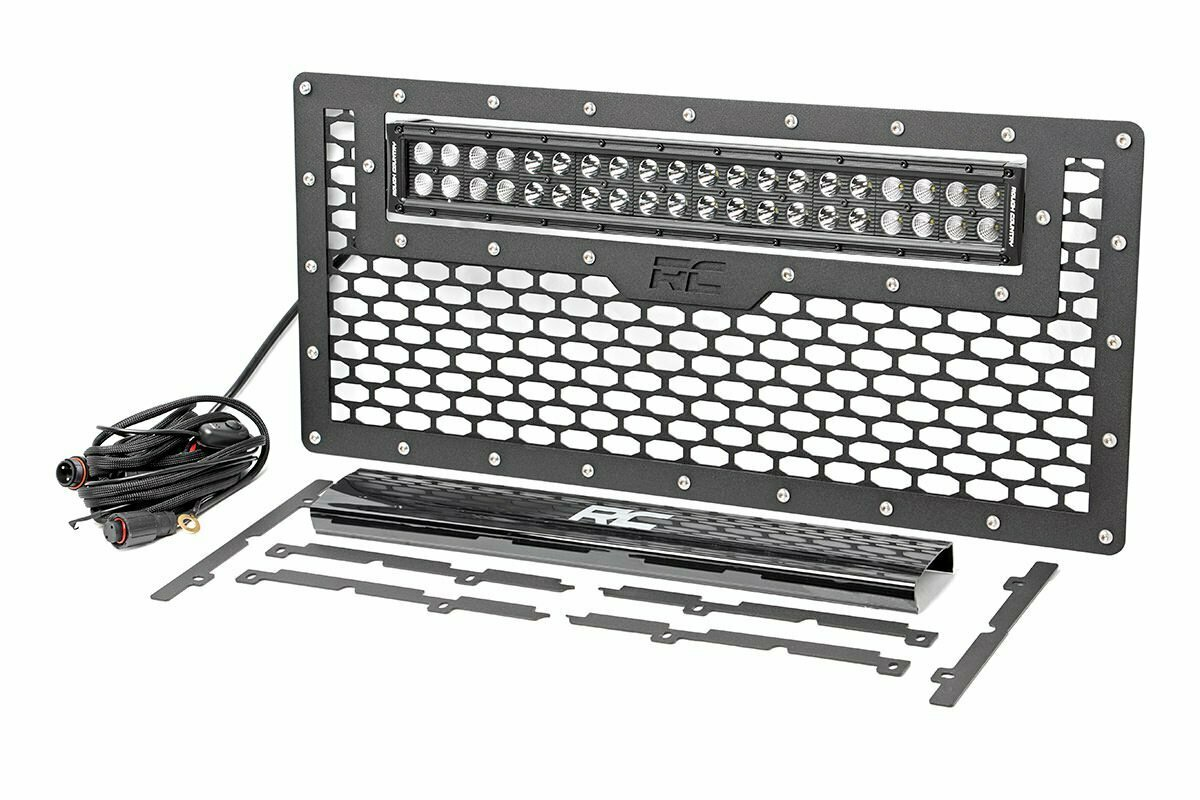 Jeep Mesh Grille w/20in Dual Row Black Series LED (07-18 Wrangler JK)