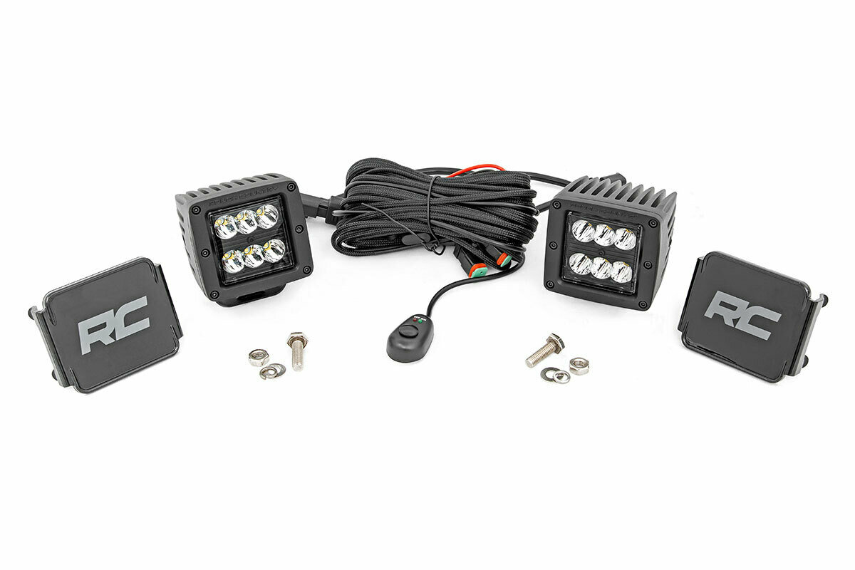 2-inch Square Cree LED Lights - (Pair | Black Series, Spot Beam)