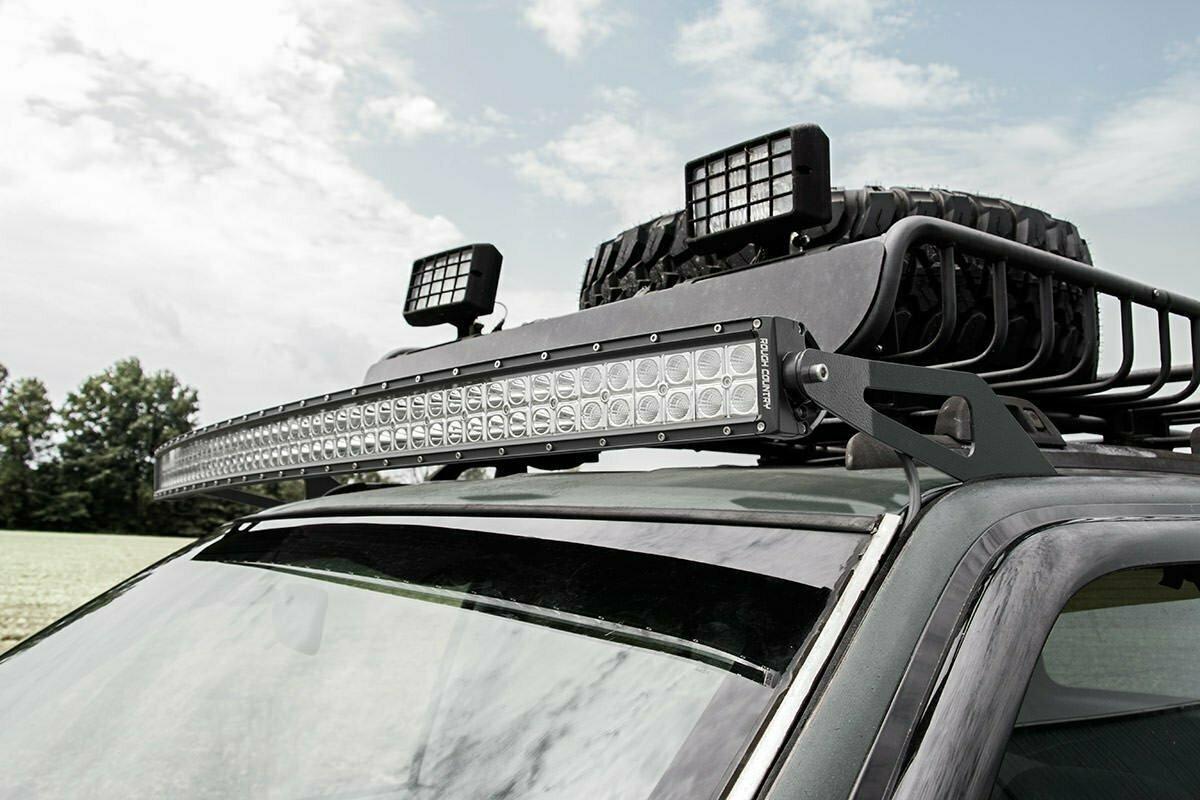 Jeep 50-inch Curved LED Light Bar Upper Windshield Mounts (93-98 ZJ Grand Cherokee)