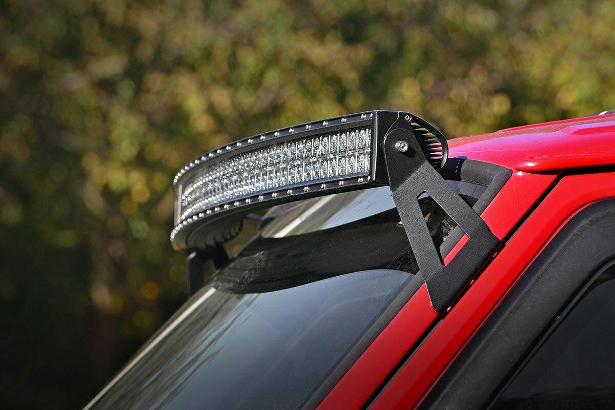 Jeep 50-inch Curved LED Light Bar Upper Windshield Mounts (84-01 XJ Cherokee)