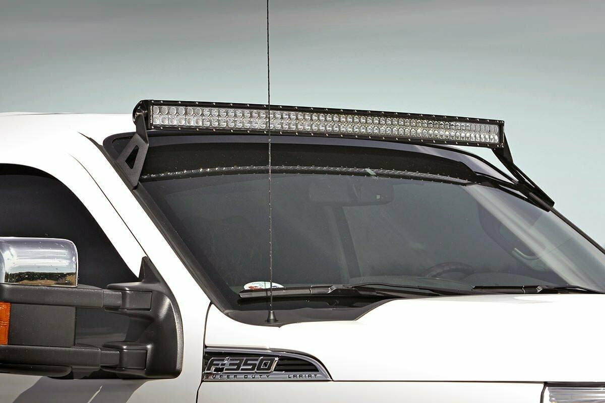 Ford 54-inch Curved LED Light Bar Upper Windshield Mounts (99-16 Super Duty)