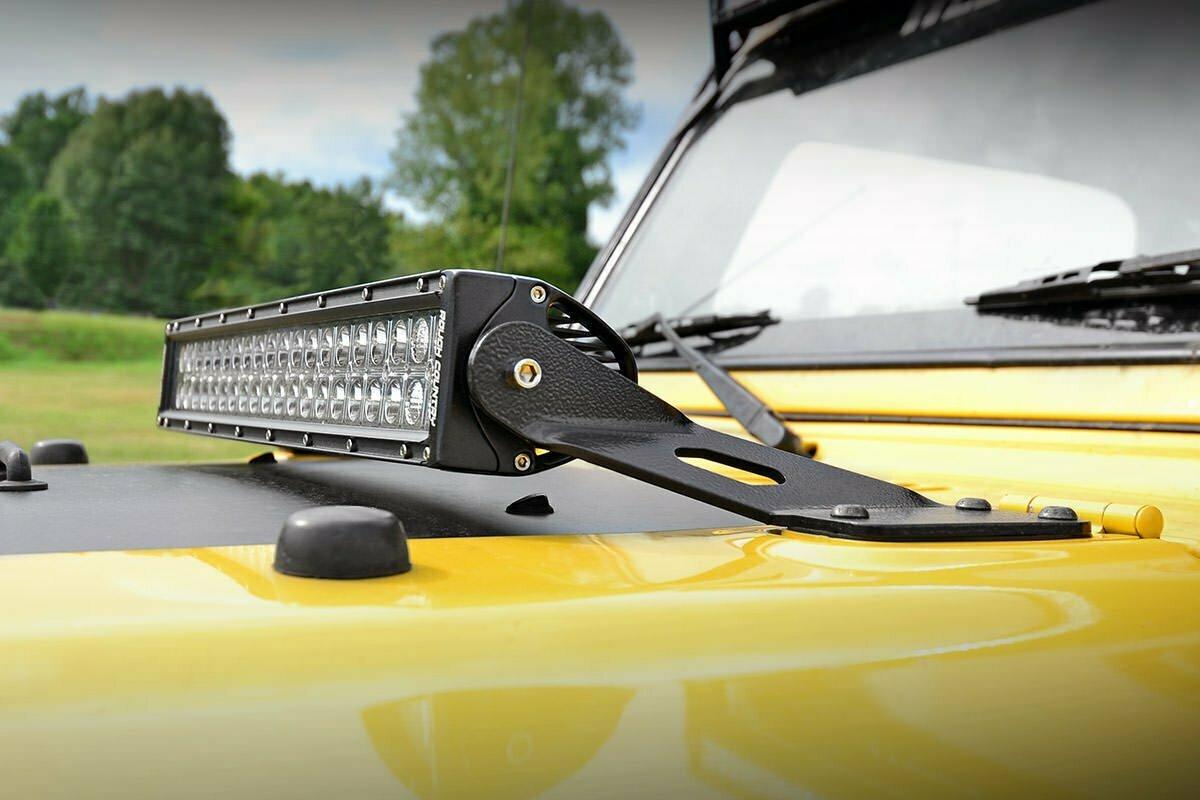 Jeep 20-inch LED Light Bar Hood Mounts (97-06 Wrangler TJ)