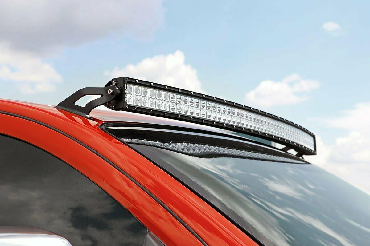 Nissan 50-Inch Curved LED Light Bar Upper Windshield Mounts (04-15 Titan)