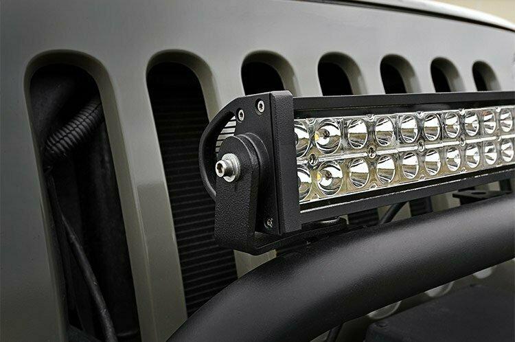 Jeep 20-inch LED Light Bar Bumper Hoop Mounts (JK / XJ)