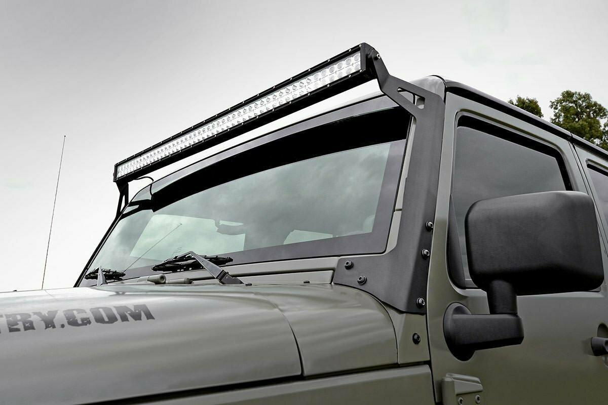 Jeep 50-inch Straight LED Light Bar Upper Windshield Mounts (07-18 Wrangler JK)