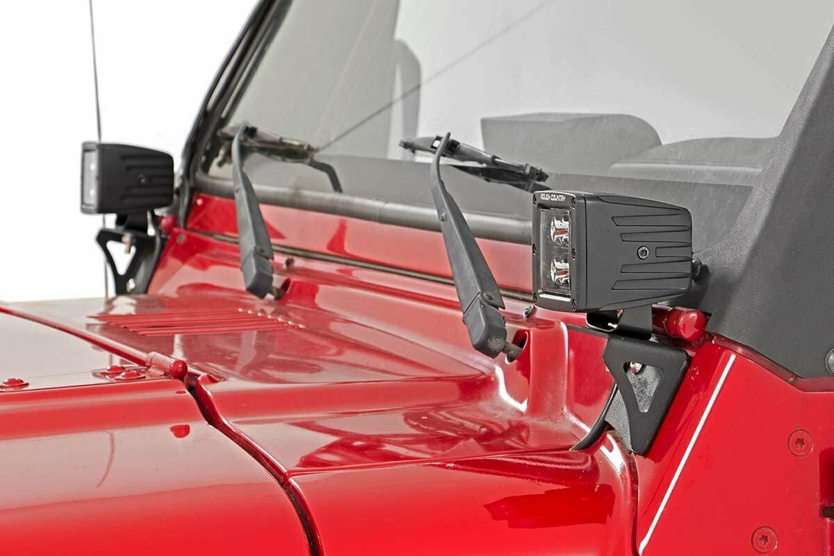 Jeep Lower Windshield Light Mounts (97-06 TJ Wrangler)