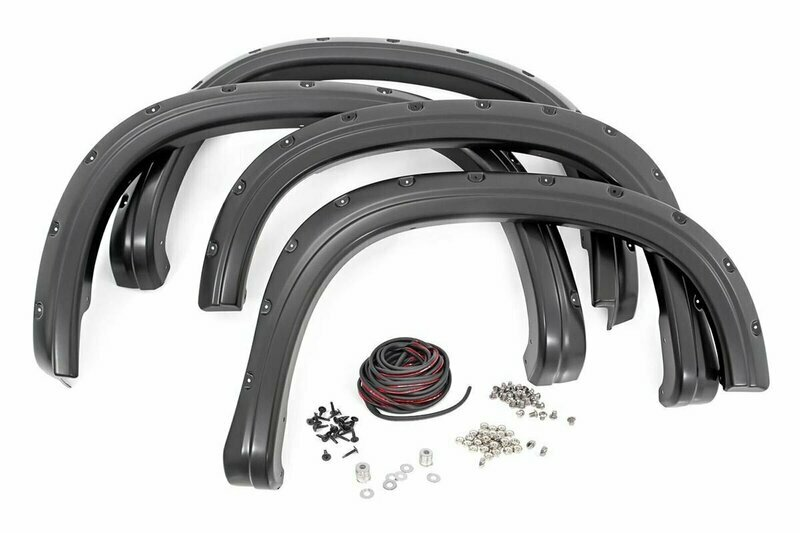 Chevrolet Pocket Fender Flares   Rivets   Black (16-18 Silverado 1500 5' 8