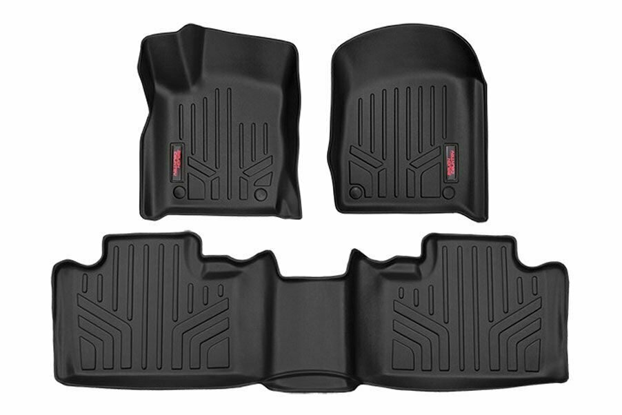 "Heavy Duty Floor Mats [Front/Rear] - (13-20 Jeep Grand Cherokee WK2 w/ Factory ""Post"" Style Floormat Connector)"