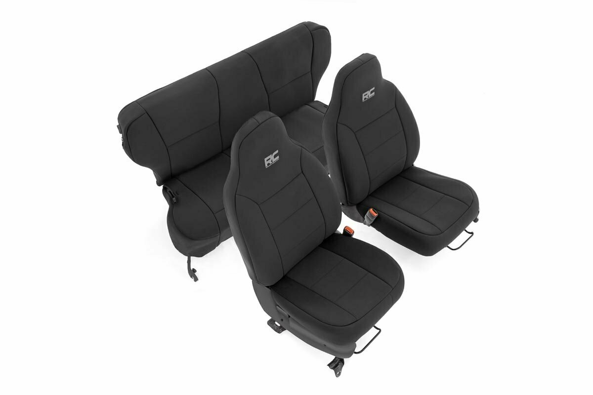 Jeep Neoprene Seat Cover Set   Black [97-01 XJ w/ Non-Detachable Headrest]