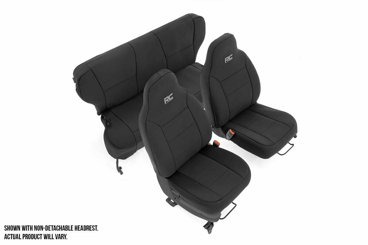 Jeep Neoprene Seat Cover Set | Black [97-01 XJ w/ Detachable Headrest]