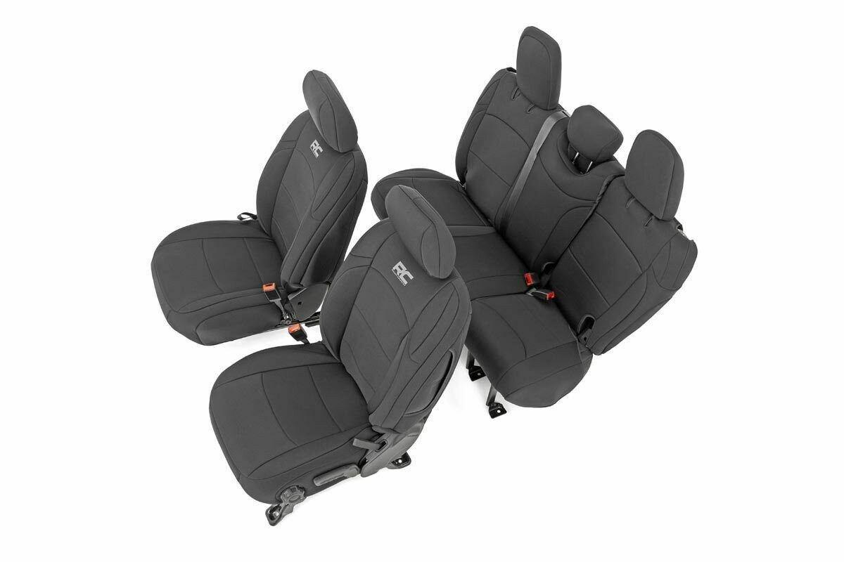 Jeep Neoprene Seat Cover Set | Black [18-20 Wrangler JL Unlimited w/ Rear Center Armrest]