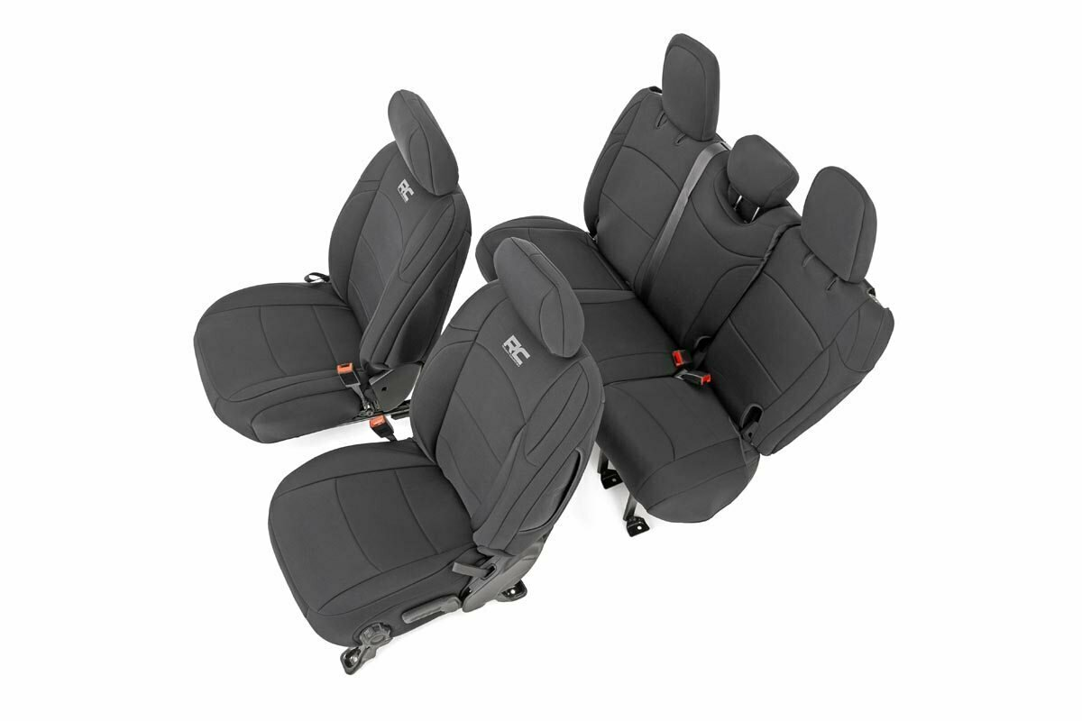 Jeep Neoprene Seat Cover Set | Black [18-20 Wrangler JL Unlimited]