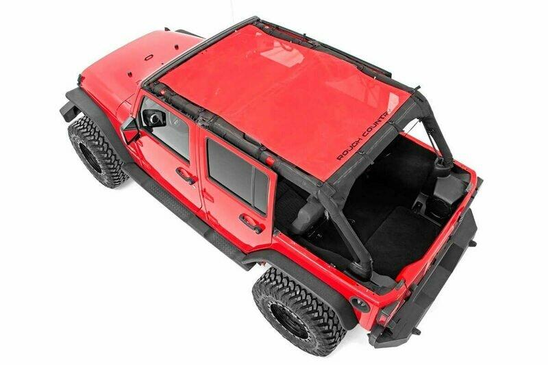 Jeep Wrangler JK Unlimited Mesh Bikini Top Plus (07-18 4-Door   Red)