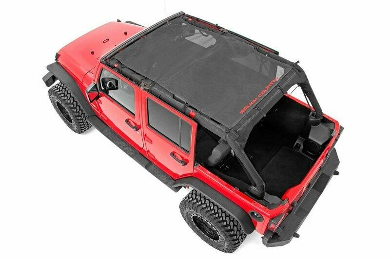 Jeep Wrangler JK Unlimited Mesh Bikini Top Plus (07-18 4-Door   Black)
