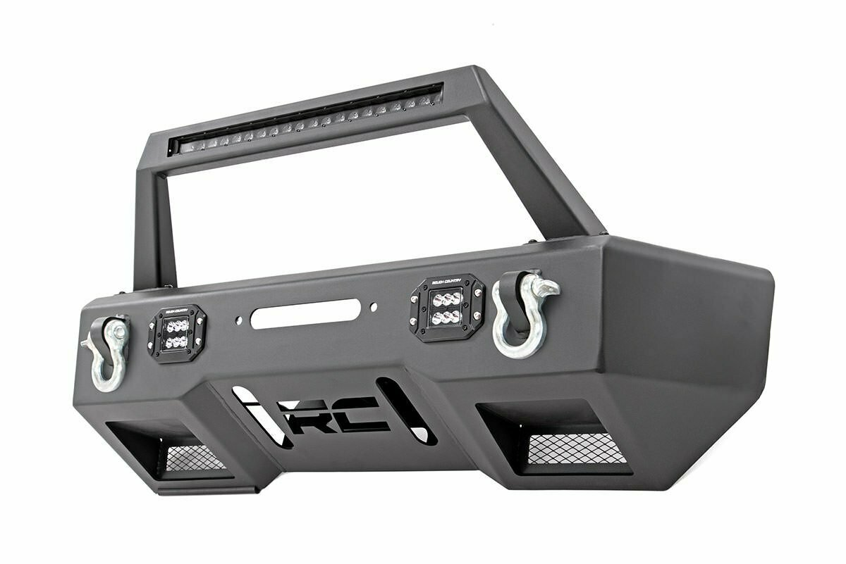 Jeep Front Stubby LED Winch Bumper w/Hoop | Black Series (JK, JL, Gladiator JT)