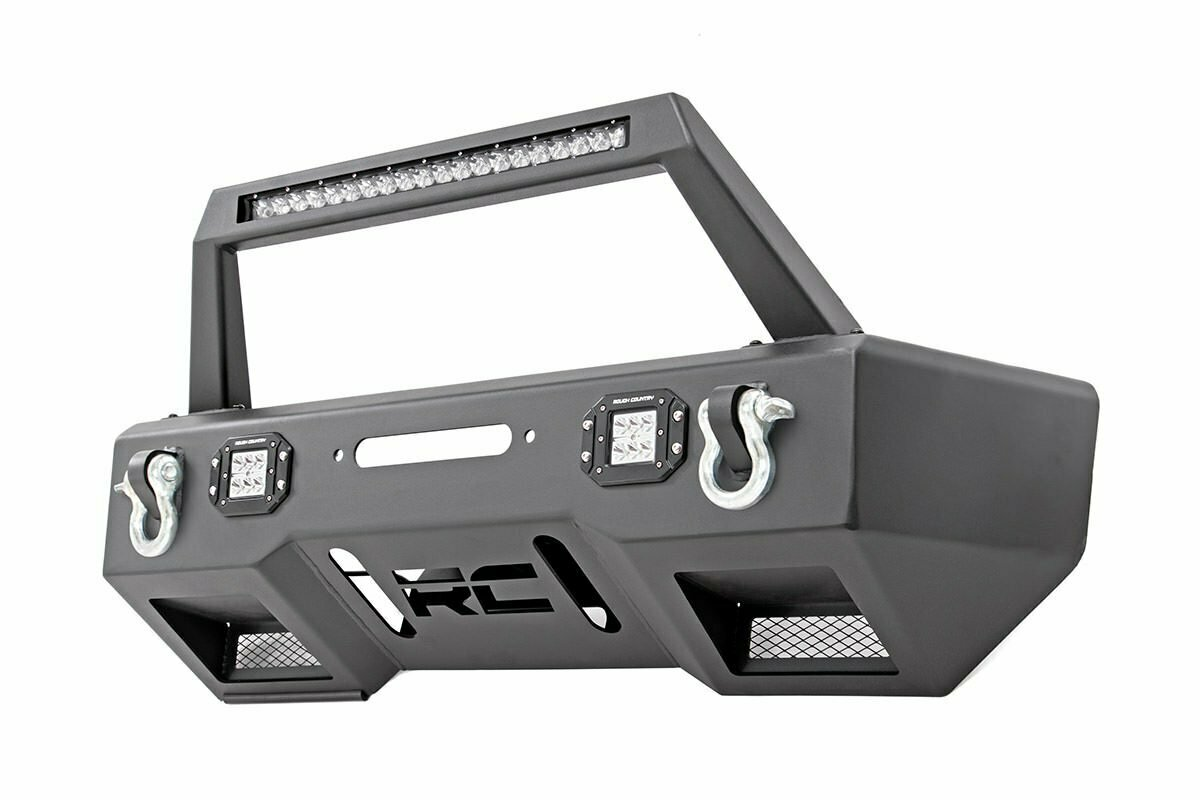 Jeep Front Stubby LED Winch Bumper w/Hoop | Chrome Series (JK, JL, Gladiator JT)