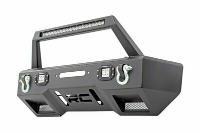 Jeep Front Stubby LED Winch Bumper w/Hoop | Chrome Series (JK, JL, Gladiator JT)
