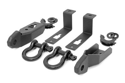 Ford Tow Hook to Shackle Conversion Kit - Mounts & Standard D-Rings (19-20 Ranger)