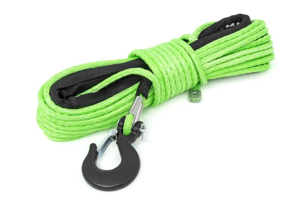 Green 1/4in Synthetic Winch Rope | UTV, ATV
