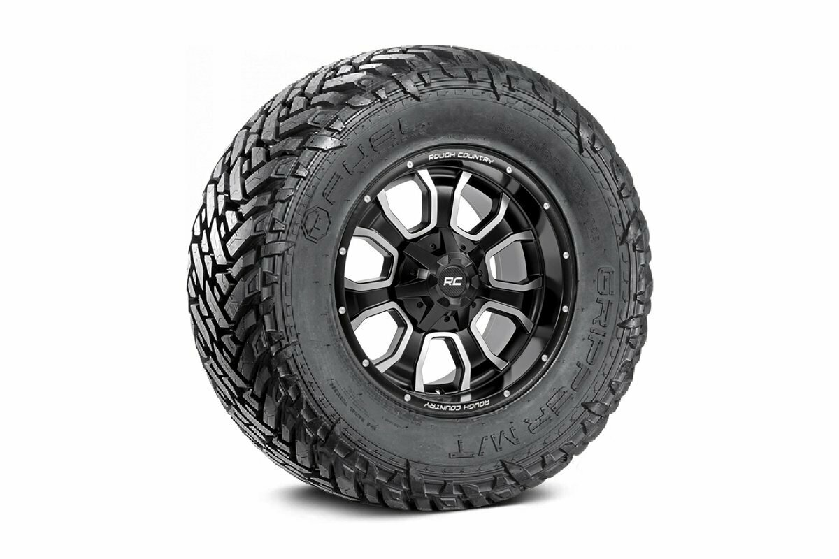 Fuel Gripper 33x12.50 M/T w/ Rough Country Series 93 20x10 Combo (6x5.5 / 6x135)