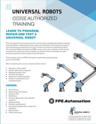 REGISTRATION HAS MOVED for Universal Robots Authorized CORE Training
