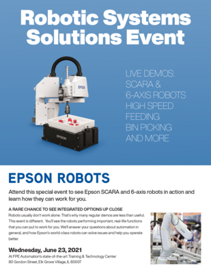 Robotic Systems Solutions Event with Epson 6-Axis and SCARA Robots