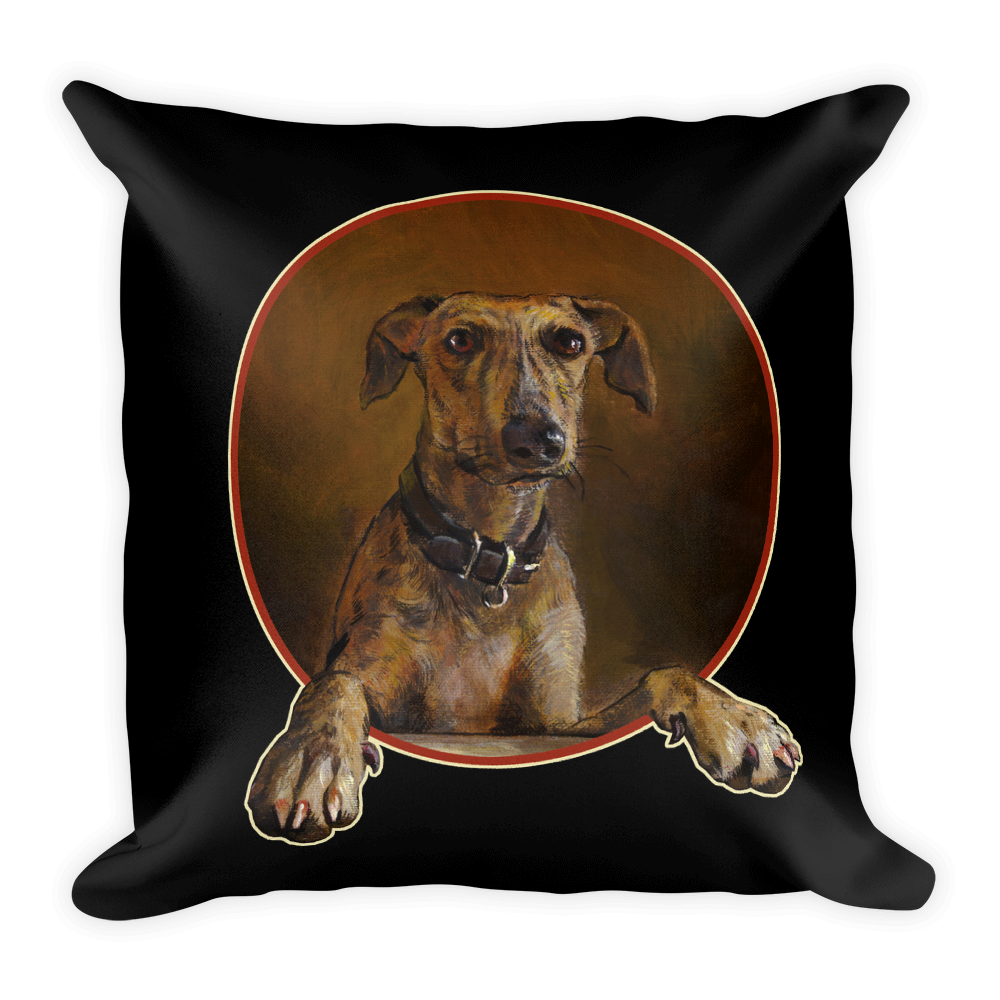 """Greyhound (from """"The Controversy"""") 18""""X18"""" Pillow (Black) 