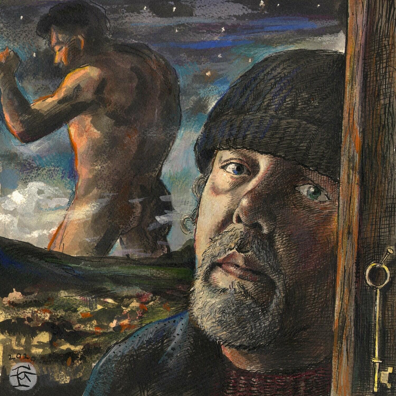 """""""Self-Portrait à la Goya, March 2020"""" Original Watercolor"""
