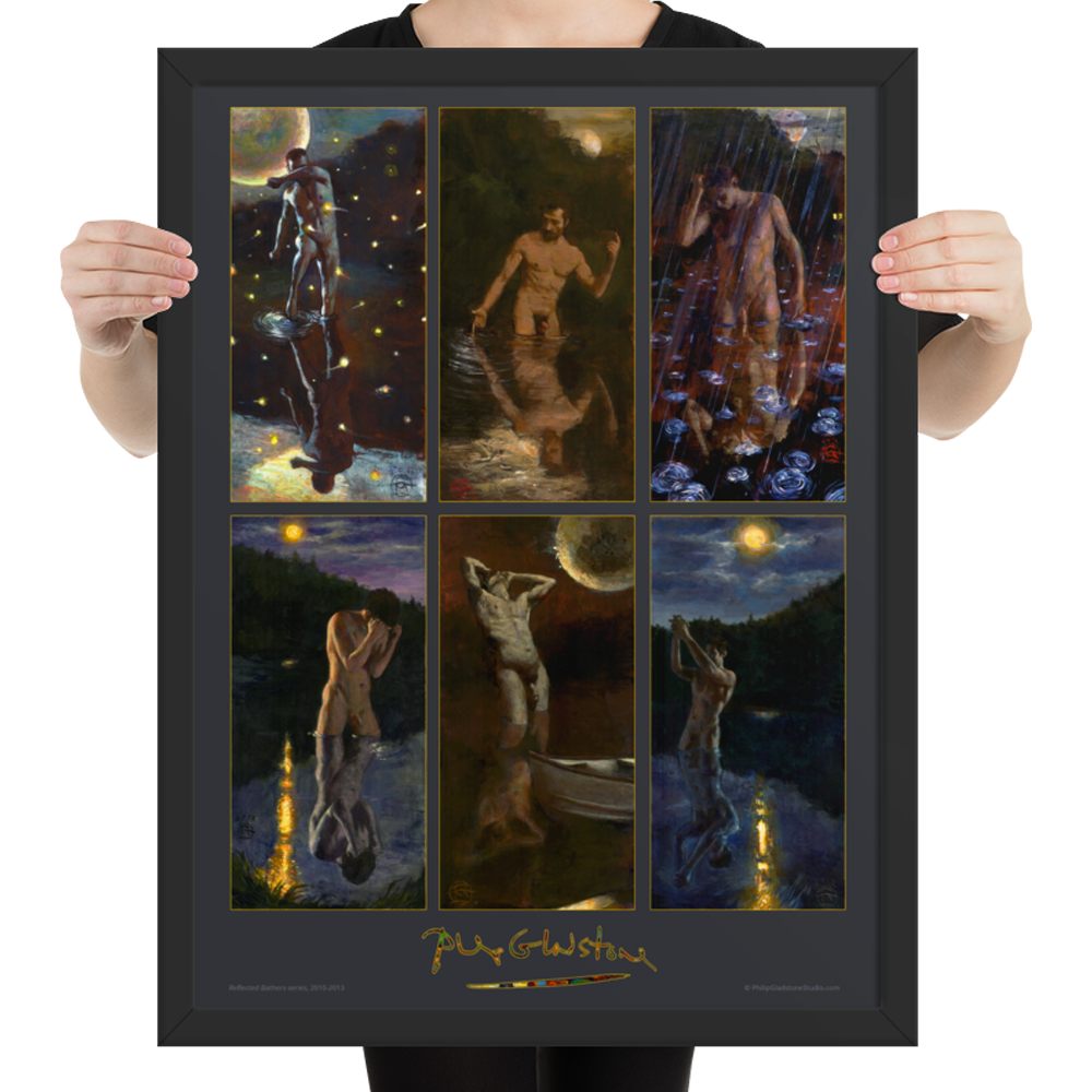"""""""Reflected Bathers Series"""" 24""""X18"""" Framed Poster 