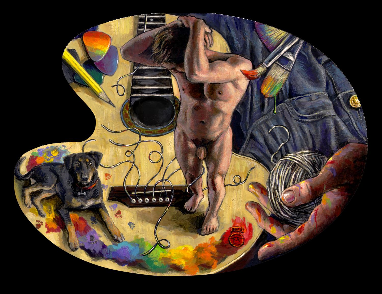 """""""Broken Strings"""" Original Painting on Palette"""