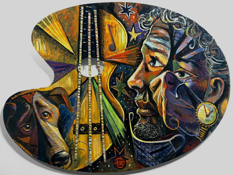"""""""Self-Portrait a la Picasso: The Loud, Sad Song"""" Original Painting on Palette"""