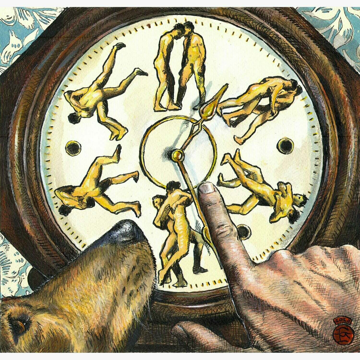 """""""Wrestling With Time (a Riff on Muybridge)"""" Original Work on Paper"""
