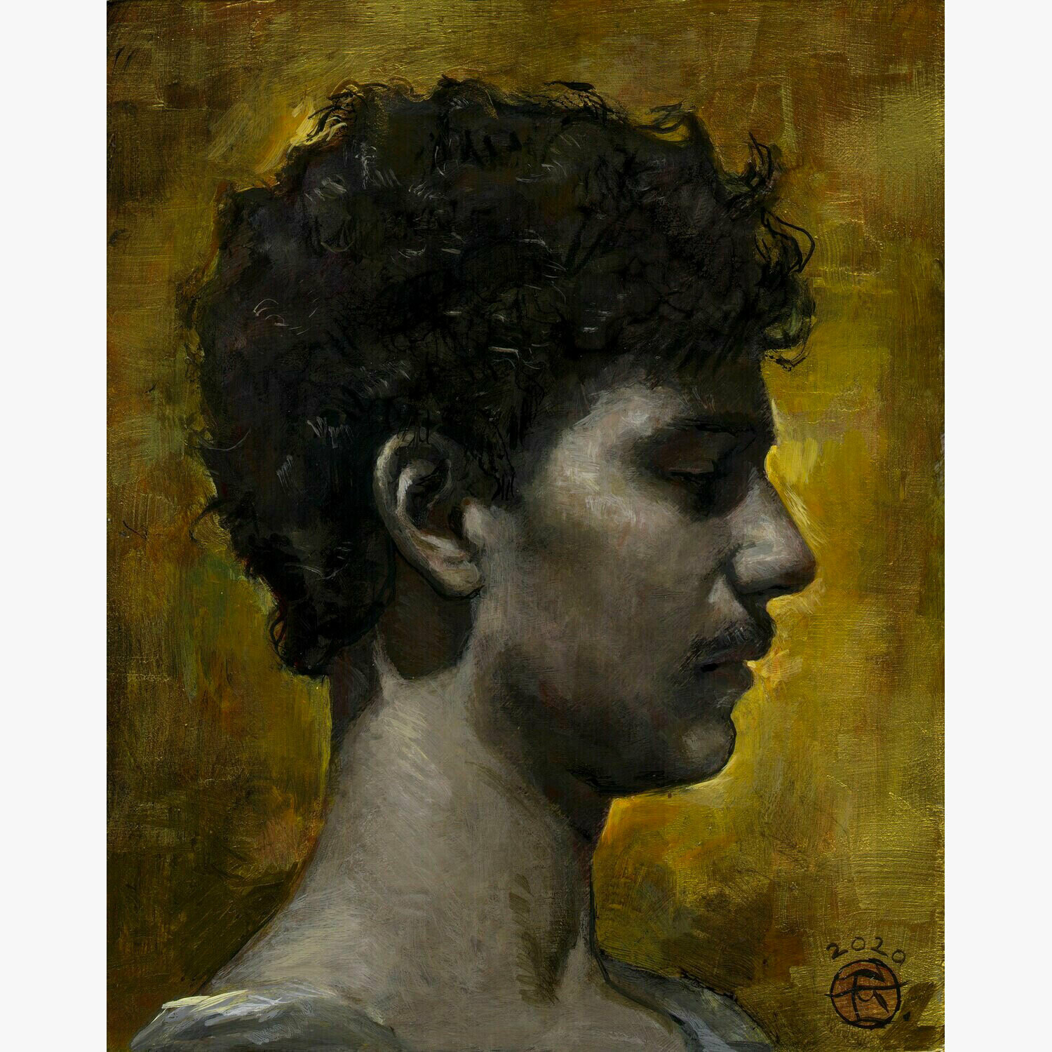 """""""Peace (Young Man in Profile)"""" Original Painting"""
