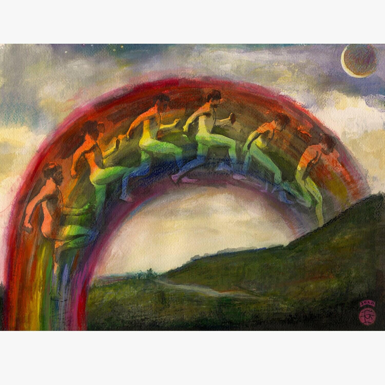 """Jump (after Muybridge)"" Original Mixed-Media Painting on Paper"