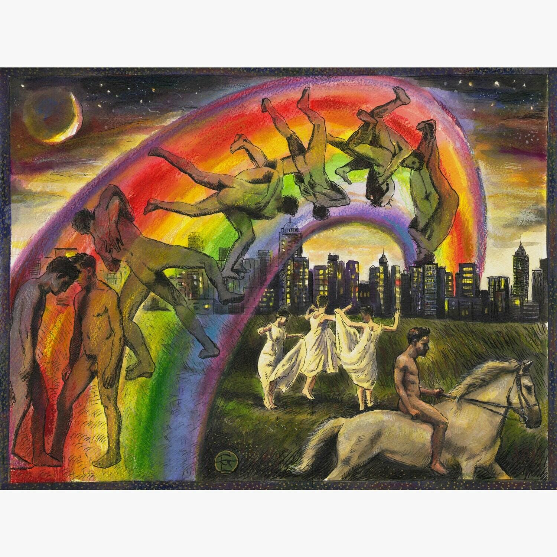 """The Struggle (A Riff on Muybridge)"" Original Mixed-Media Painting on Paper"