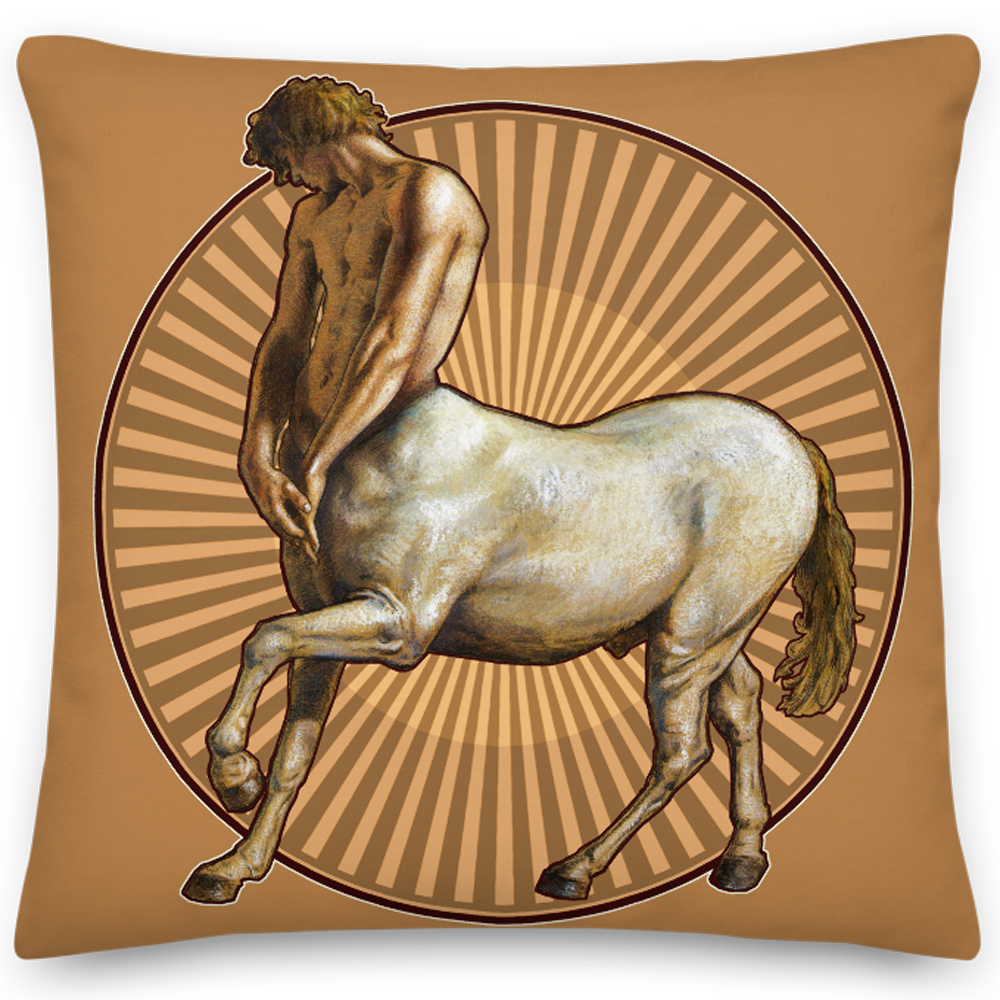 """Pensive Centaur"" 18""X18"" Pillow 