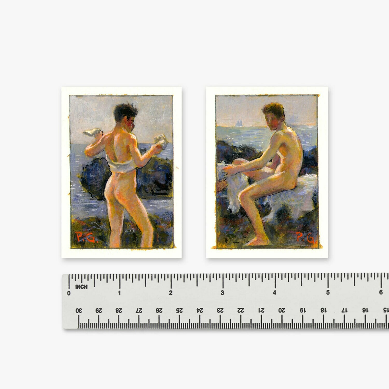 "Pair of Miniature 3"" X 2"" Paintings on Paper"