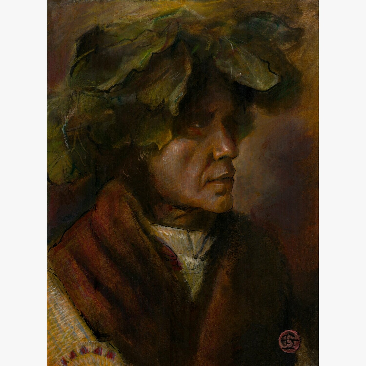 Untitled (Study after Edward S. Curtis) Original Mixed-Media Painting on Paper