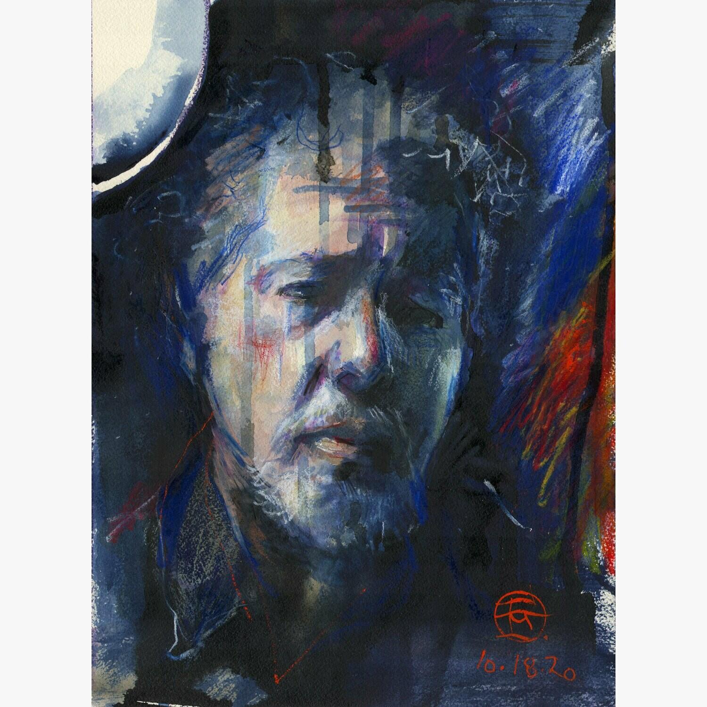 """Indigo Self-Portrait, 10.18.2020"" Original Mixed-Media Painting on Paper"