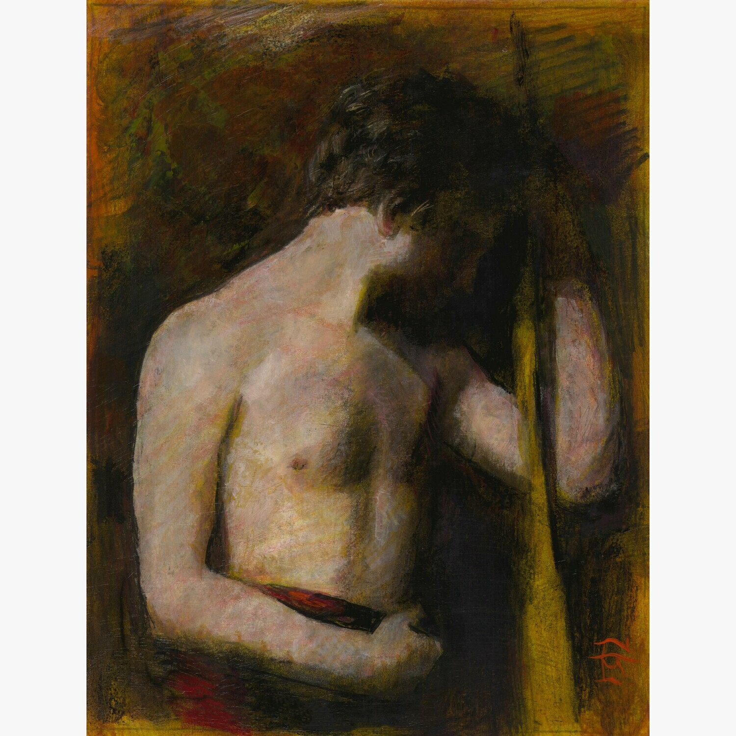 Untitled Male Nude, Original Mixed-Media Painting on Paper