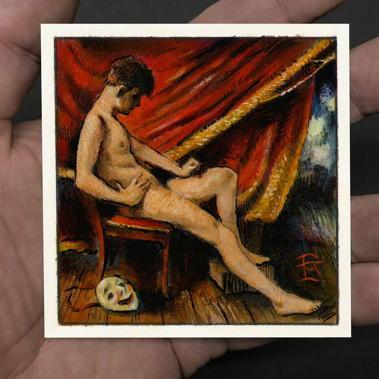 """Miniature Painting """"The Curtain"""" 3"""" X 3"""""""