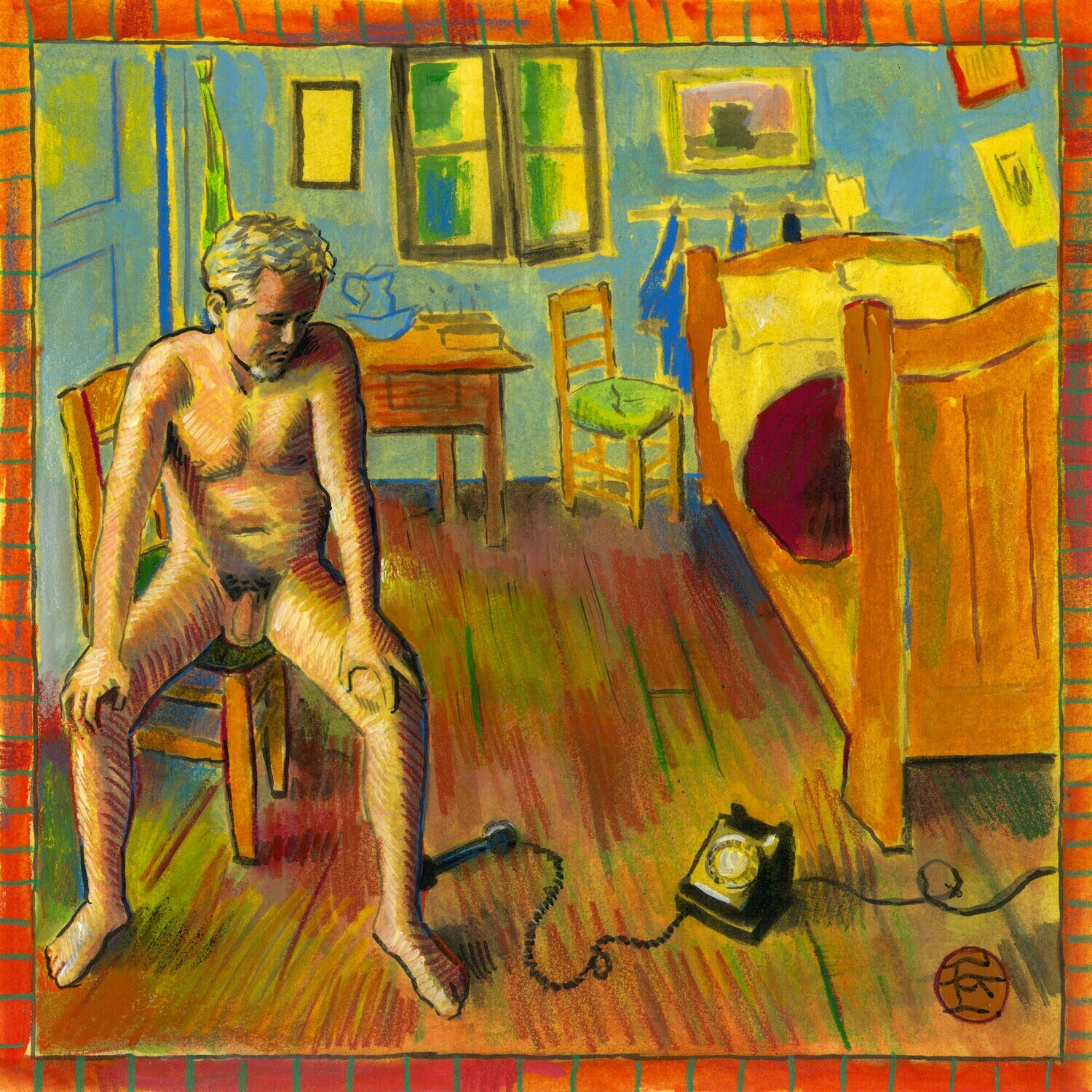 """""""Self-Portrait Quarantining at Vincent's House"""" Original Mixed-Media Painting on Paper"""