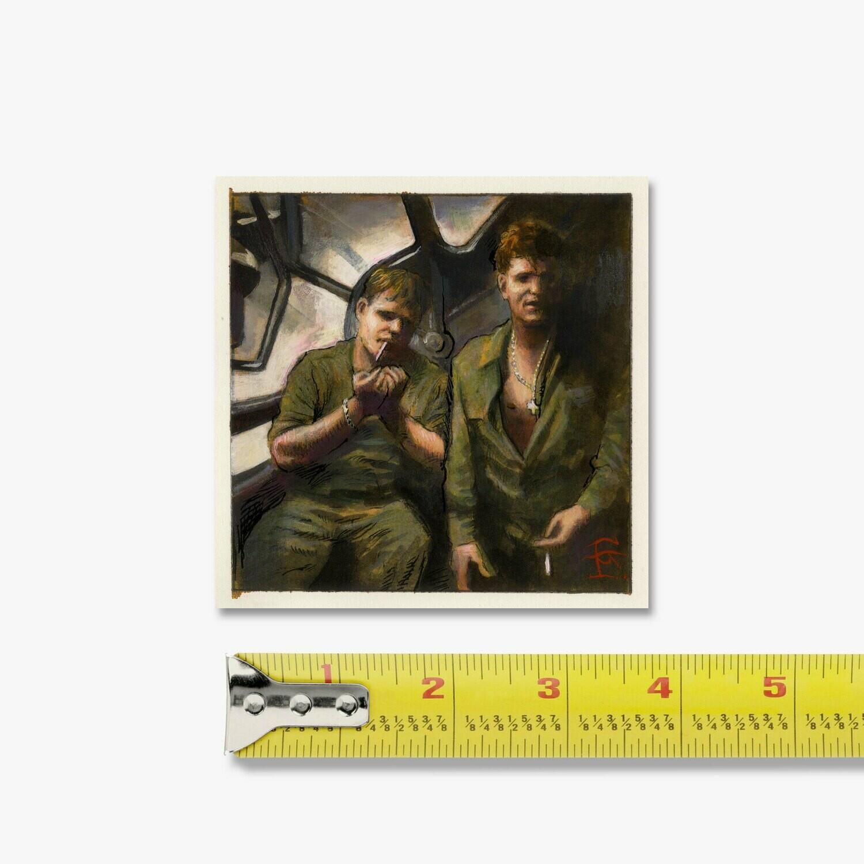"Miniature 3.5"" X 3.5"" Painting: Rescued Airmen Smoking, 1944"