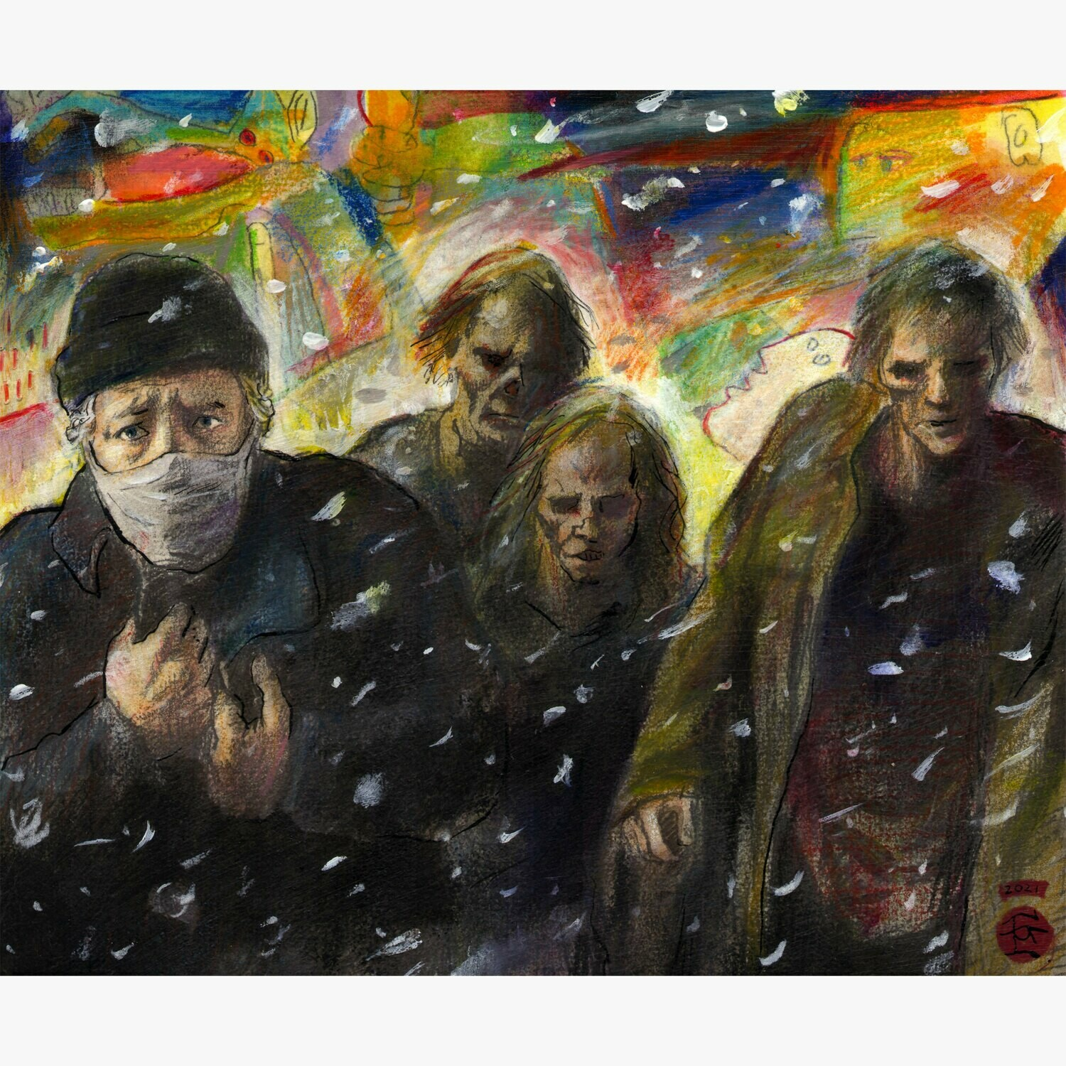 """""""Self-Portrait, Winter 2020-2021: Zombies and Fascists"""" Original Mixed-Media Work on Paper"""